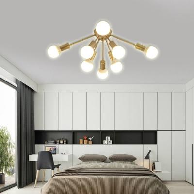 Living Room Bare Bulb Semi-Flush Ceiling Fixture Metal 8/12 Light Modern Gold Ceiling Light