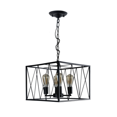 Metal Cuboid Wire Frame Ceiling Pendant Light 4 Heads Vintage Hanging Lamp in Black for Villa