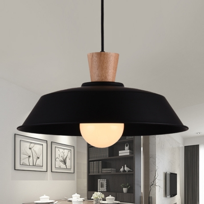 Modern Industrial Barn Hanging Ceiling Lights Iron Single Bulb Wooden Light Pendant for Home Decor