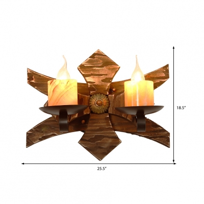 Nautical Creative Sconce Lights Iron 2 Heads Sconce Light Fixture with Wooden Base for Coffee Shop