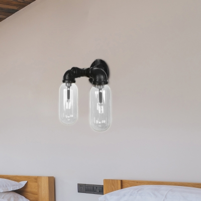 Pipe Sconce Lighting Fixtures Antique Iron and Glass 2 Lights Sconce Lamp in Black for Corridor