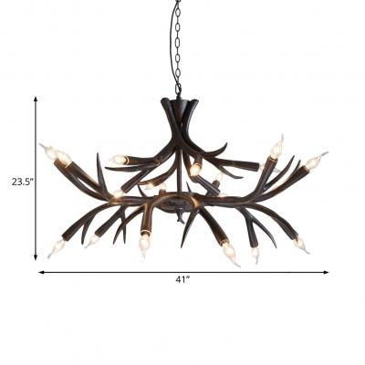 Rustic Exposed Bulb Pendant Light with Antler Design Resin 18 Lights Black Chandelier