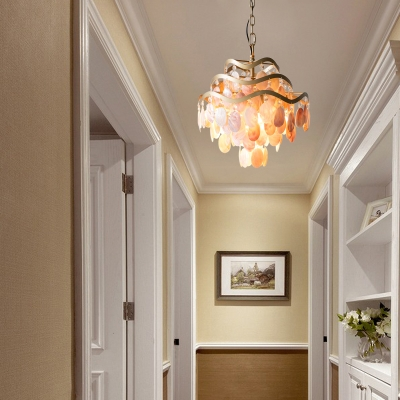 Rustic Shell Chandelier Lighting with Adjustable Chain 4 Lights Bedroom Pendant Light in Gold