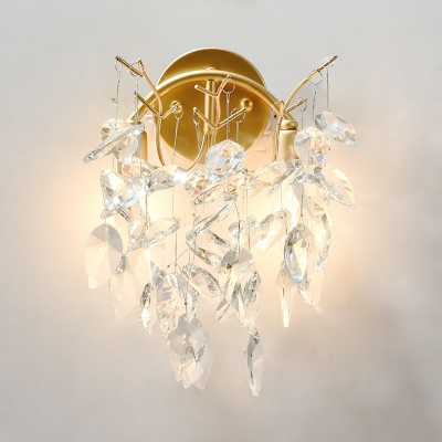 Sparkling Crystal Sconce Lighting Fixtures Contemporary Unique Wall Sconce Lights for Hotel