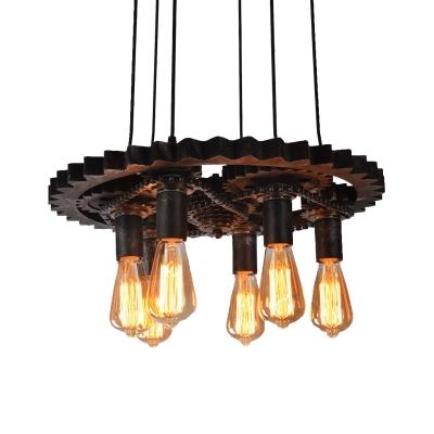 Aged Black Hanging Pendant Lights Vintage Metal 6 Heads Gear Hanging Light Fixtures for Indoor