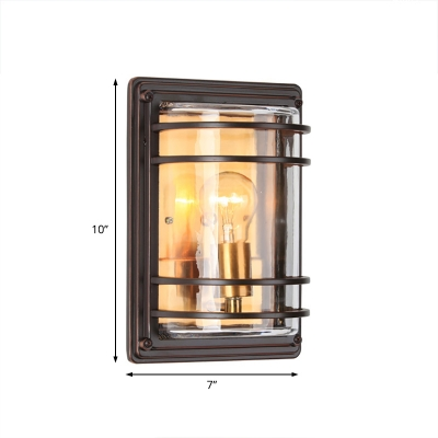 Amber Glass Sconces Wall Lights Contemporary Single Light Square Outdoor Wall Lighting