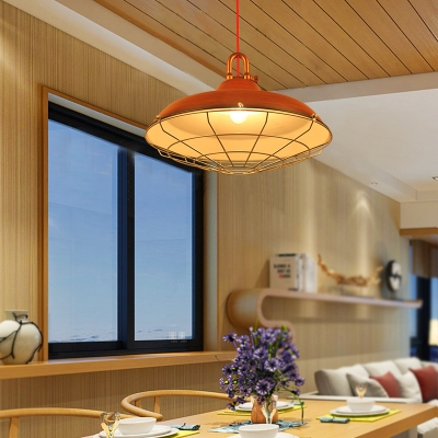 Barn Pendant Ceiling Lights Retro Style Metal 1 Light Caged Hanging Lights for Kitchen Dining, White;red brown;copper, HL560739
