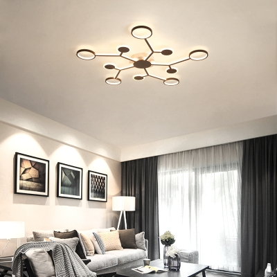 Branch Ceiling Flush Light with Ring Shade Nordic Acrylic Integrated Led Flushmount Lighting