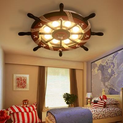Cartoon Rudder Ceiling Light Fixture Wood 8 Bulbs Flush Mount Ceiling Light