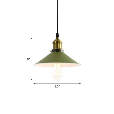 Flared Hanging Light Fixtures Industrial Retro Iron 1 Light Pendant Lighting in Brass Finish