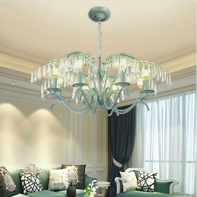 Green Leaf Pendant Chandelier Country Crystal Iron 3/6/8 Light Hanging Light Fixtures for Indoor