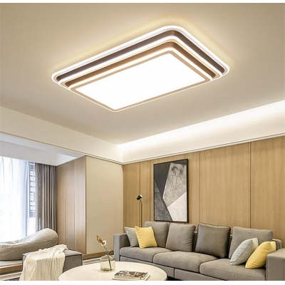 Living Room Square/Rectangle LED Flush Light Acrylic Shade Modern Champagne Gold Ceiling Lamp