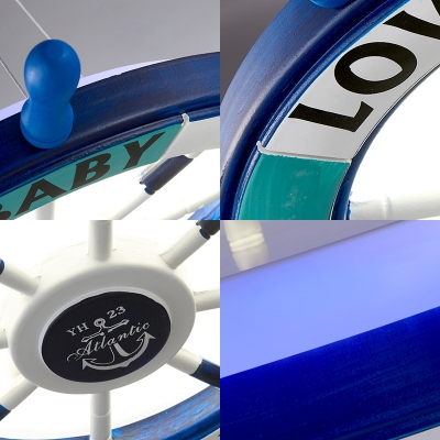 Mediterranean Steering Wheel Hanging Pendant Lights Wood and Metal Ceiling Light Fixtures with Adjustable Cord