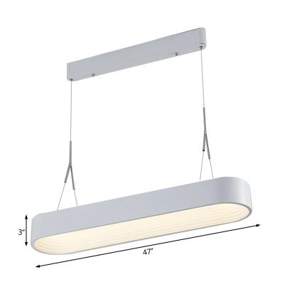 Minimalist Linear Chandelier Light Metal Led Hanging Pendant Light for Office in Third Gear