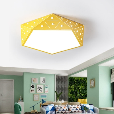 Nordic Style Diamond Ceiling Flush Metal LED Flush Mount Lighting in Multiple Colors