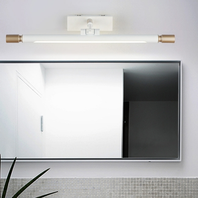 Rotatable Linear Wall Lighting Fixtures Modern Acrylic and Metal 1 Light Wall Sconces in White for Vanity