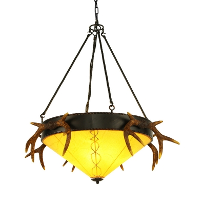 Traditional White/Yellow Hanging Light Cone Shade 3 Heads Glass Pendant Lamp with Antlers for Villa
