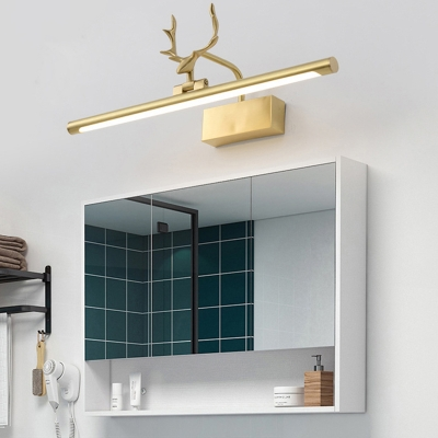 Tubular Vanity Light With Antler Mid Century Modern Adjustable Led Wall Mount Light In Gold Beautifulhalo Com
