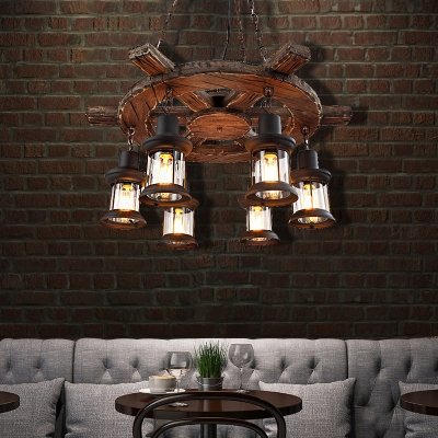 6-Light Hanging Ceiling Lights Nautical Wood and Steel Pendant Light Fittings in Black with Clear Glass Shade