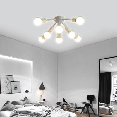 Bare Bulb Bedroom Ceiling Light Fixture Metal 8/12 Light Modern Flush Mount Light in Black/White
