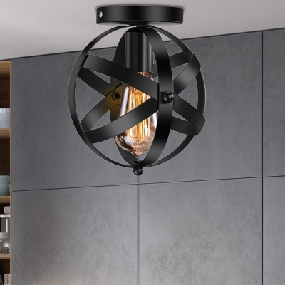 Black Sphere Ceiling Lights Vintage Steel 1 Head Flush Mount Lighting