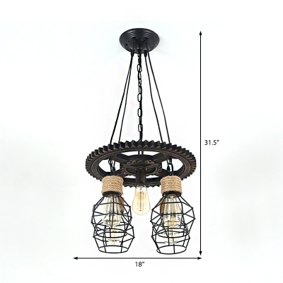 Caged Ceiling Pendant Light Vintage Iron Rope Chandelier Lighting Fixture with Adjustable Cord for Indoor