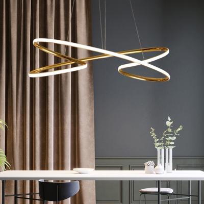 Chrome/Gold Curved Ceiling Pendant Light Minimalist Metal Led Hanging Light