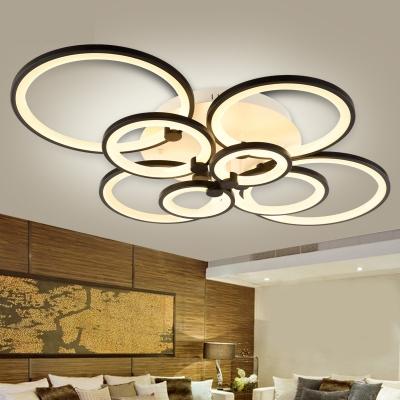 Circular Semi Flush Light Modern Acrylic Led Semi Flush Mount Ceiling Light in Black
