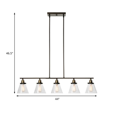 Clear Glass Conical Island Lamp 5 Bulbs American Rust Pendant Lamp in Black Finish