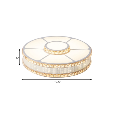 Crystal Accent Style Drum Ceiling Flush Lights Acrylic LED White Mount Fixture for Hotel