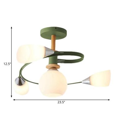 Curve Bedroom Semi Flush Ceiling Light Metal 4/6 Light Modern Flush mount Light in Multicoloured