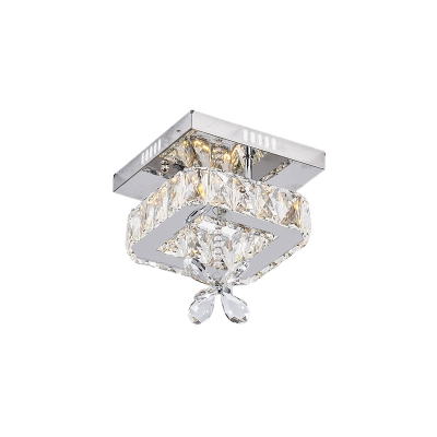 Floral Crystal Ceiling Light Fixture Contemporary Metal Squared Ceiling Lights for Hallway