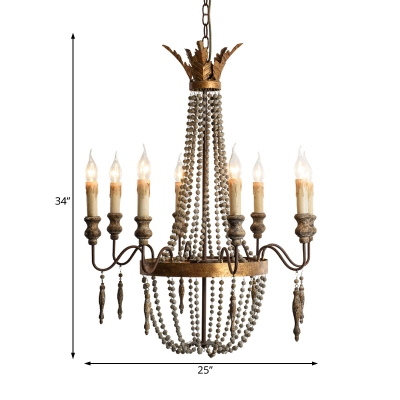 French Country Empire Chandelier with Candle and Wooden Bead Multi Light Pendant