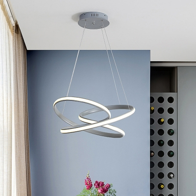 Gray Spiral Chandelier Lamp Minimalist Metal Integrated Led Hanging Pendant Light