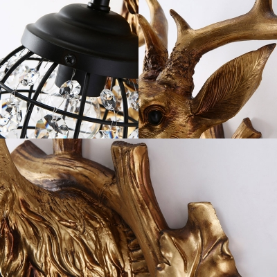 Indutrial Rustic Deer Wall Sconce Resin Single Wall Mount Light with Metal Teardrop Shade