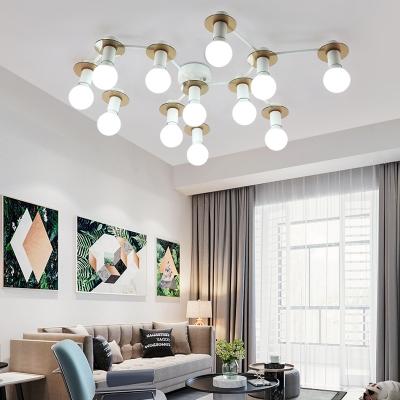 Living Room Bare Bulb Semi-Flush Ceiling Fixture Metal 5/8/12 Light Modern Black/White Ceiling Light