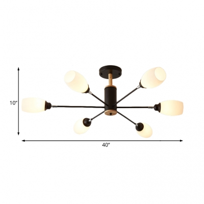 Modern Black Semi Flush Ceiling Fixture with Carafe Shade 6/8/10 Light Glass Ceiling Light for Bedroom