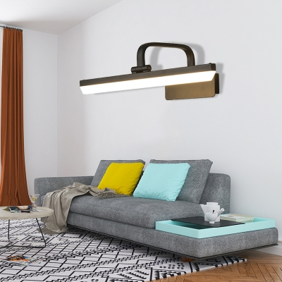 Modern Warm/White Mirror Headlights, Acrylic and Metal Wall Sconce Light Fixture in Black/White