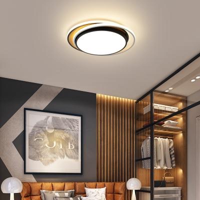 Nordic Style Black/White Ceiling Lighting with Acrylic Shade LED Wood Flush Mounted Light