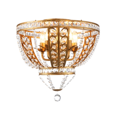 Novelty Bowl Ceiling Fixture Modern 5 Heads Crystal Beaded Candle Semi Flush Chandelier for Indoor