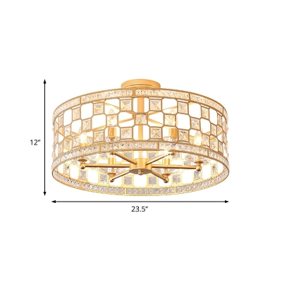 Sparkling Crystal Drum Ceiling Light Contemporary Metal Semi-Flush Mount Light in Gold for Living Room