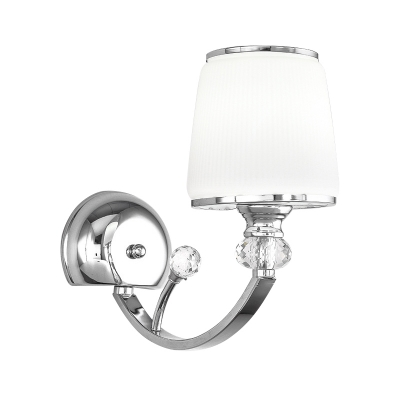 Tapered Wall Sconce Light Modernism White Glass 1 Light Wall Light Fixture in Polished Chrome