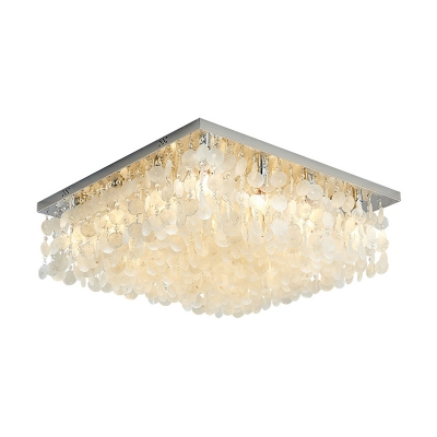 Tropical & Beach Shell Ceiling Fixture Crystal Square Ceiling Light Fixtures in White for Bedroom