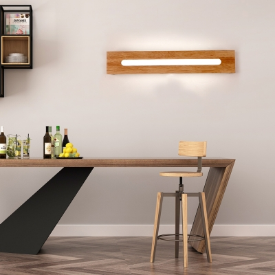 Wood Rectangle Wall Light Modern Style Led Wall Mount Light with Acrylic Shade