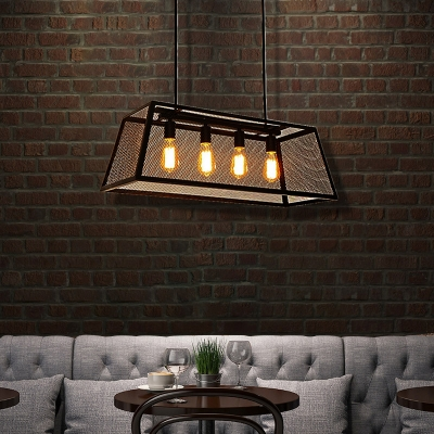 4-Light Wire Mesh Island Lighting Industrial Pyramid Island Ceiling Light in Black over Kitchen Dining
