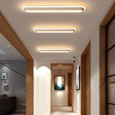 Acrylic Oblong Flush Light Office LED Modern Metal Mount Fixture in Black/White