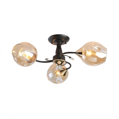 Amber/Blue Curved Semi Flush Mount 3/6 Light Modern Glass Ceiling Light for Bedroom