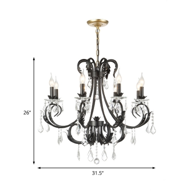 Black Candle Hanging Chandelier Traditional Iron and Crystal 6/8 Lights Pendant Chandelier for Dining Room