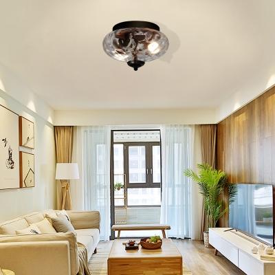 Blown Glass Flush Ceiling Lights for Bedroom, Modern Unique Flush Mount Light in Black