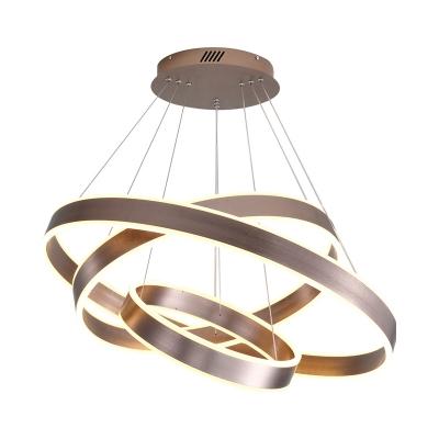 Brown Ring Pendant Lighting Modern 1/2/3 Light Led Metal Ceiling Chandelier for Foyer